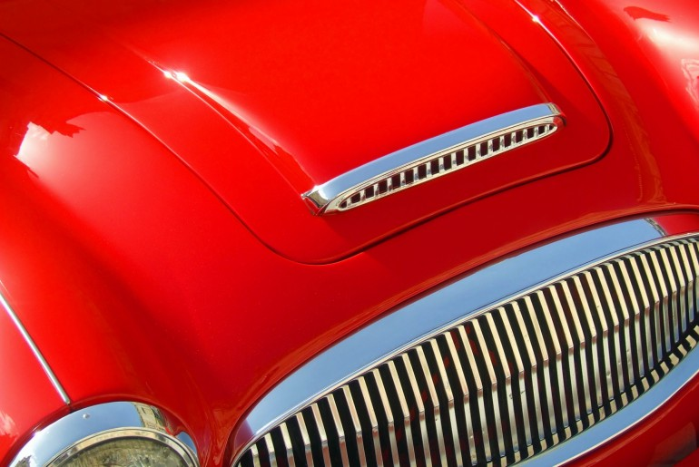 red-vintage-car